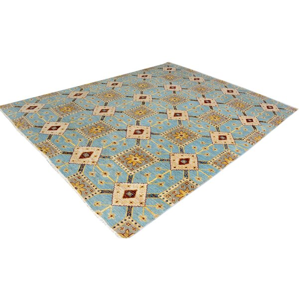 One-of-a-Kind Dorn Hand-Knotted Wool Light Blue/Gold Area Rug by Isabelline