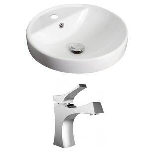 Bargain Ceramic Circular Drop-In Bathroom Sink with Faucet and Overflow ByAmerican Imaginations