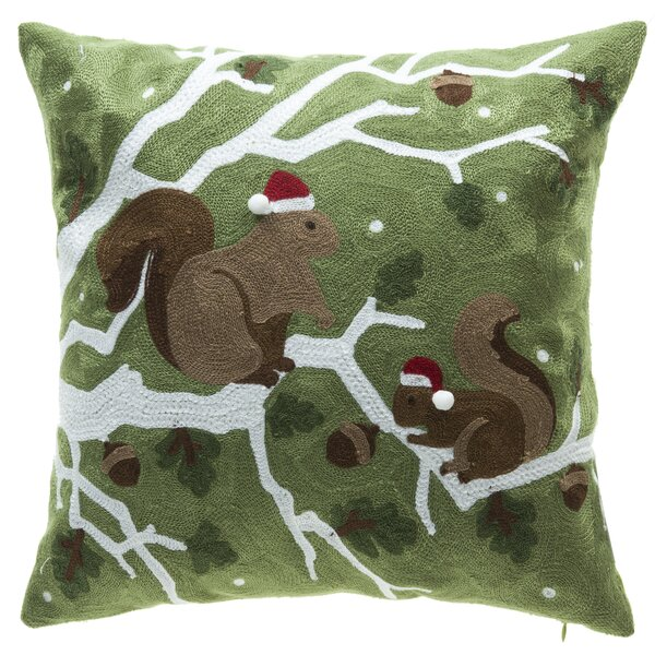 Holiday Squirrel Throw Pillow by 14 Karat Home Inc.
