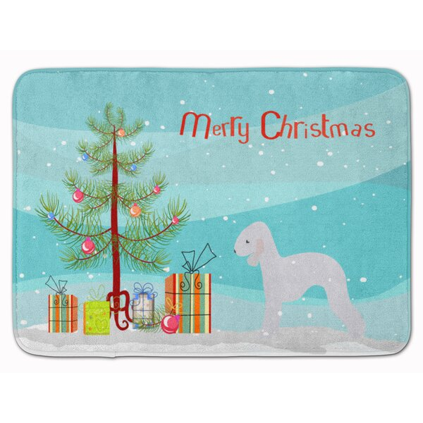 Bedlington Terrier Merry Christmas Tree Memory Foam Bath Rug by The Holiday Aisle