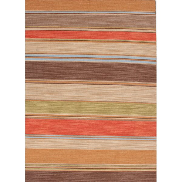 Summerwood Poppy/Lemon Stripe Area Rug by Bay Isle Home