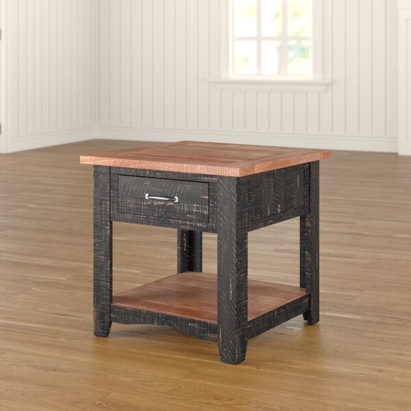 Soham Solid Wood End Table With Storage By Three Posts