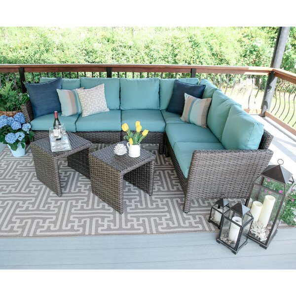 Daventry Coast 6 Piece Rattan Sectional Seating Group with Cushions by Three Posts