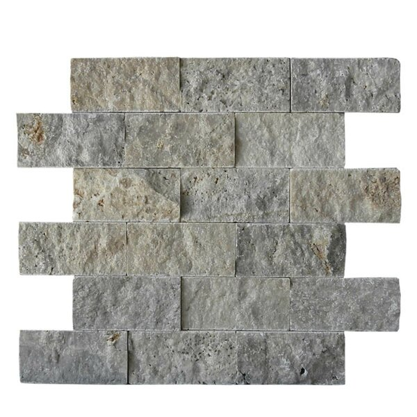 2 x 4 Natural Stone Mosaic Splitface Tile in Silver by QDI Surfaces