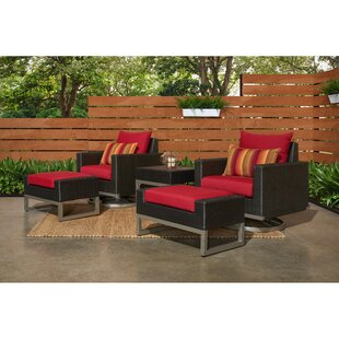Minor Motion 5 Piece Rattan Sunbrella Conversation Set with Cushions By Wade Logan