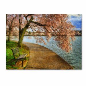 'Meet Me At Our Bench' by Lois Bryan Photographic Print on Canvas by Trademark Fine Art