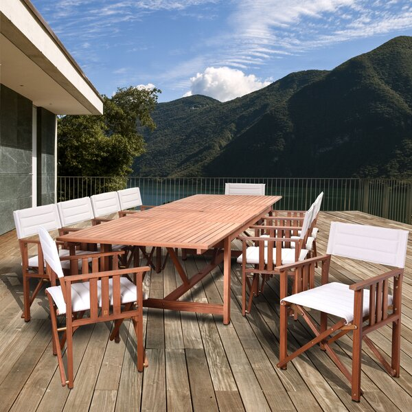 Sanor Extendable Patio 11 Piece Dining Set by Beachcrest Home