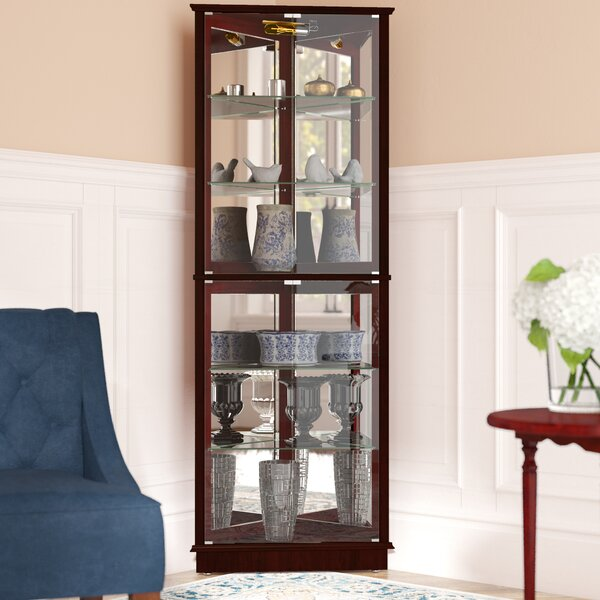 Randalstown Lighted Corner Curio Cabinet By Andover Mills.