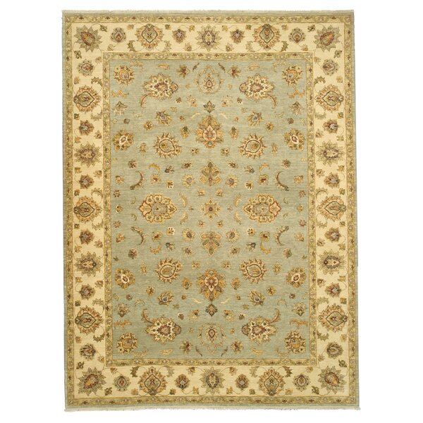 Mainaguri Hand-Knotted Blue/Beige Area Rug by Meridian Rugmakers