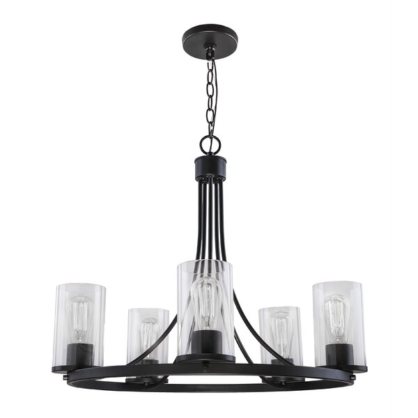 Deltaville 5 - Light Shaded Wagon Wheel Chandelier by Latitude Run Latitude Run