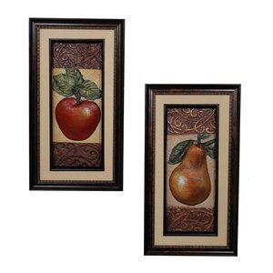 'Apple and Pear' 2 Piece Framed Painting Print Set by ESSENTIAL DÉCOR & BEYOND, INC