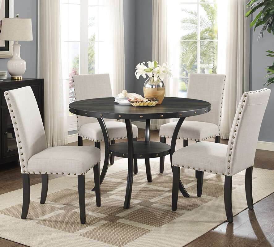Roundhill Furniture Biony Espresso 5 Piece Dining Set & Reviews ...