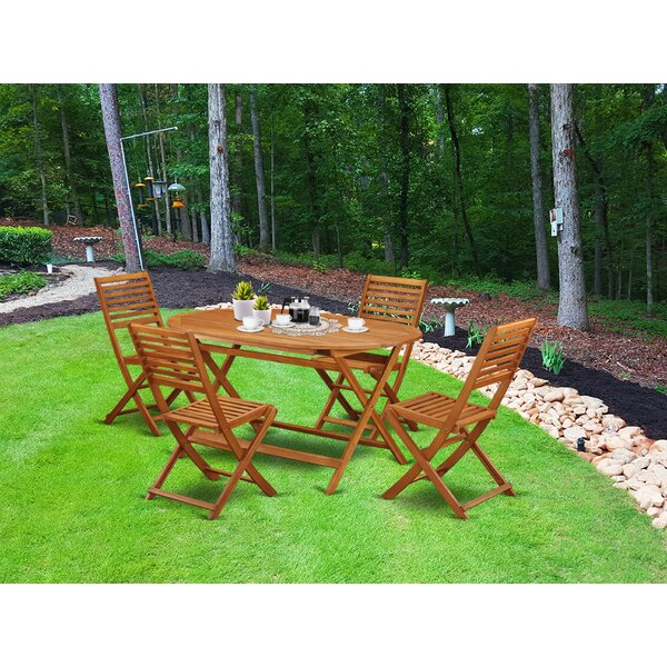 Darrion 5 Piece Patio Dining Set by Longshore Tides