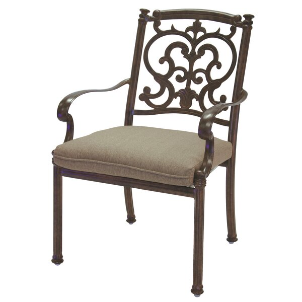 Batista Stacking Patio Dining Chair with Cushion by Fleur De Lis Living