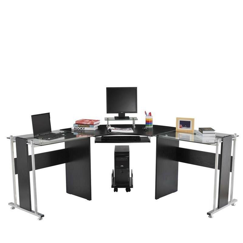 Beau Wicker Modern L Shaped Computer Desk