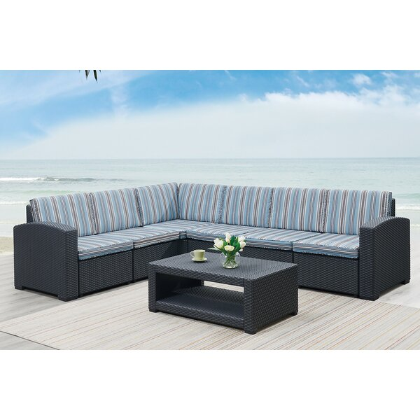 Gisselle 7 Piece Sectional Seating Group with Cushions by Highland Dunes