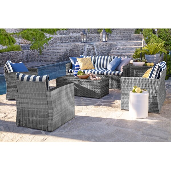 Ridgemoor 6 Piece Rattan Sofa Set with Cushions by Breakwater Bay