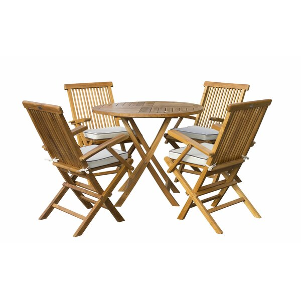 Villalobos 5 Piece Teak Sunbrella Dining Set Cushions by Bayou Breeze