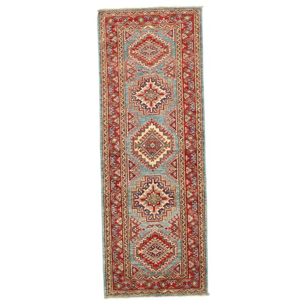 Marshallville Hand-Knotted Wool Blue/Red Area Rug