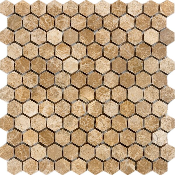 Hexagon Marble Mosaic Tile in Emperador Light by Epoch Architectural Surfaces