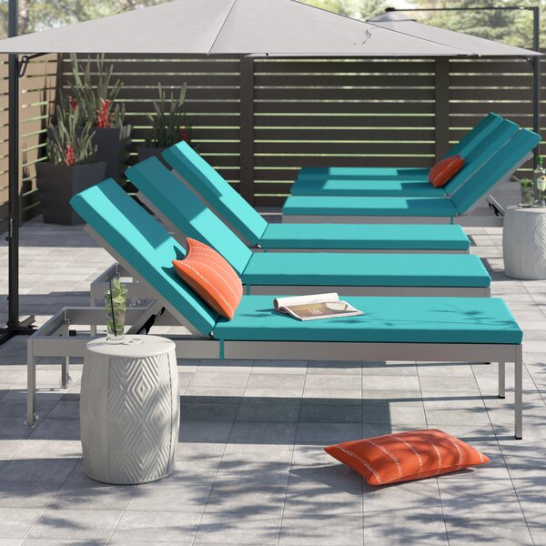 Coline Patio Chaise Lounge with Cushion (Set of 6) by Orren Ellis Orren Ellis