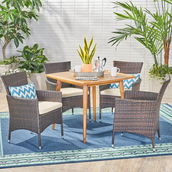 Galloway 5 Piece Teak Dining Set with Cushions by Wrought Studio