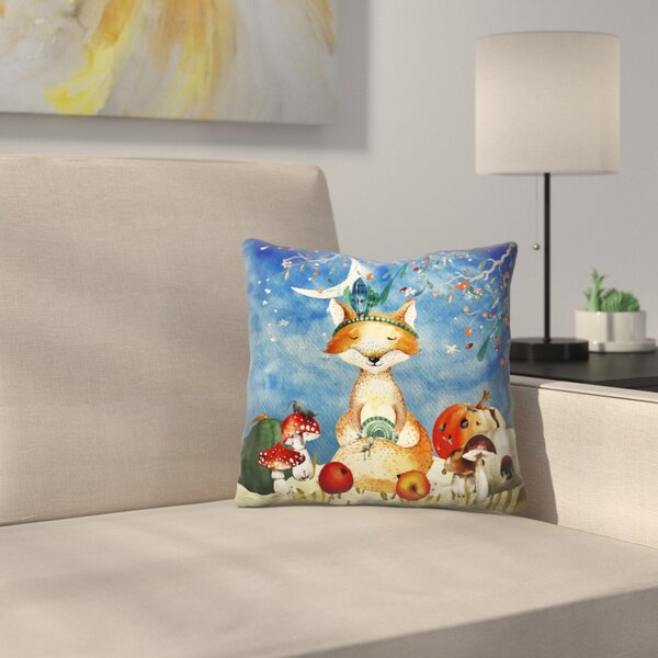 Sleepy Fox in Autumnal Forest Throw Pillow by East Urban Home