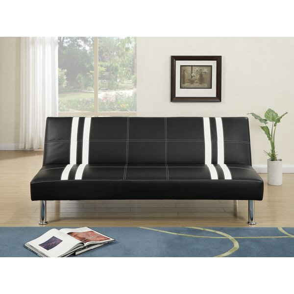 Livengood Faux Leather Adjustable Convertible Sofa by Latitude Run