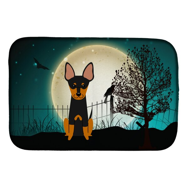 Halloween Scary English Toy Terrier Dish Drying Mat by Caroline's Treasures