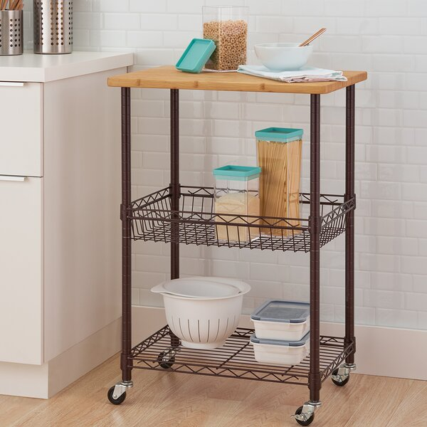 Basics Kitchen Cart with Solid Wood Top by Trinity