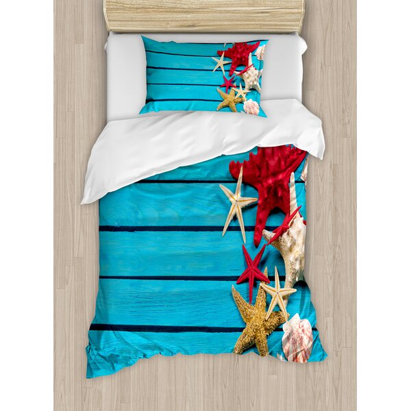 Starfish Different Types of Scallops on Painted Wooden Planks Image Duvet Set by East Urban Home