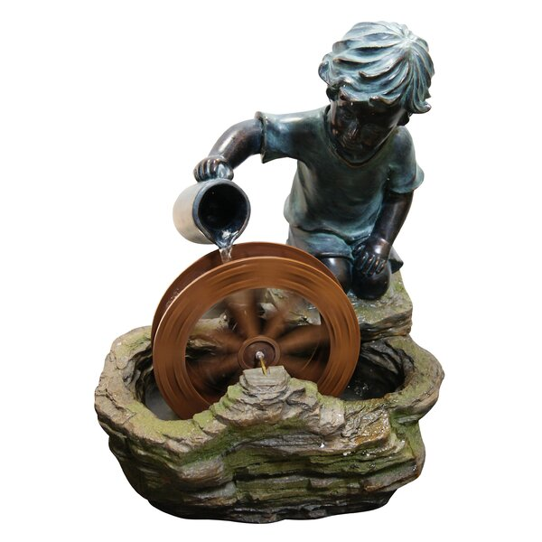 Resin and Stone Boy with Wheel Sculptural Fountain by Woodland Imports
