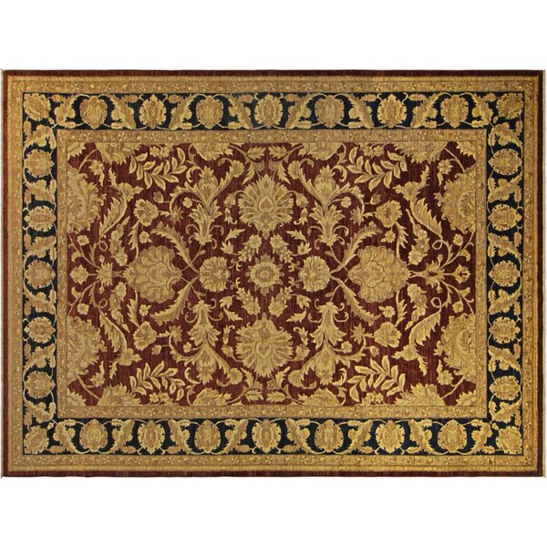 Xenos Hand-Knotted Rectangle Wool Red/Blue Area Rug by Astoria Grand
