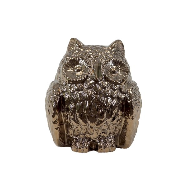 Ceramic Owl Decor Metallic Gold by Urban Trends