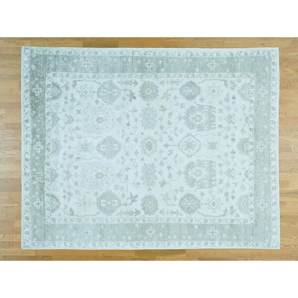 One-of-a-Kind Bearer Stone Wash Art Hand-Knotted Ivory Silk Area Rug by Isabelline