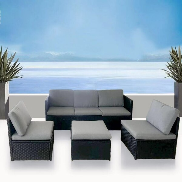 Augustus 4 Piece Rattan Deep Seating Group with Cushions by Bayou Breeze