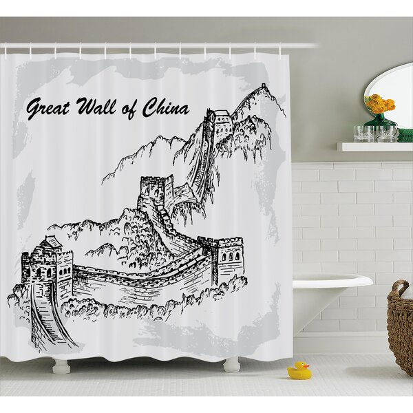 Asian Sketchy China War Ruins Shower Curtain by East Urban Home