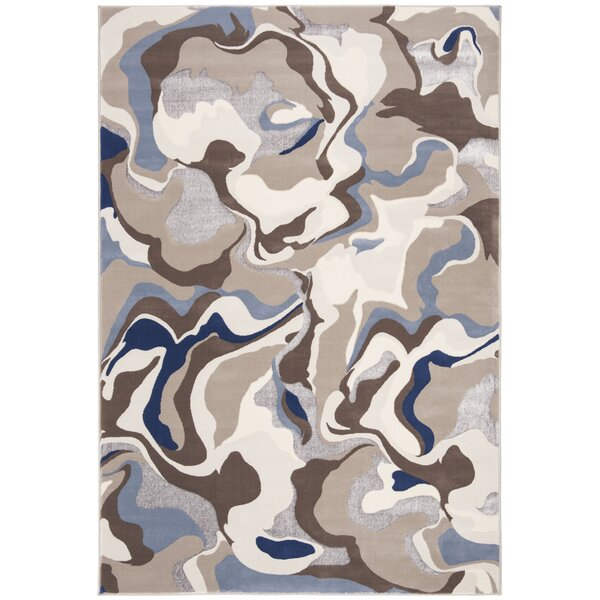 Hermina Taupe/Blue Area Rug by Ivy Bronx