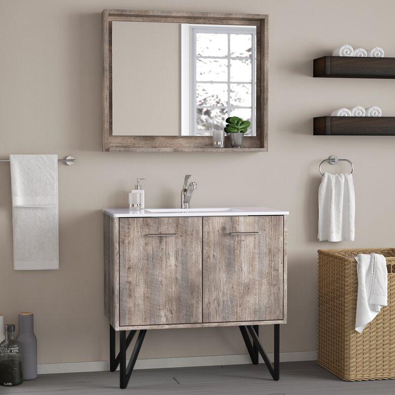 Ellison Nature Wood 36 Single Bathroom Vanity Set With Mirror