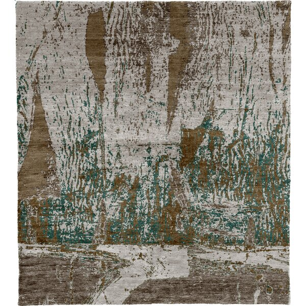 One-of-a-Kind Johanna Hand-Knotted Traditional Style Brown/Gray/Green 6' x 9' Wool Area Rug