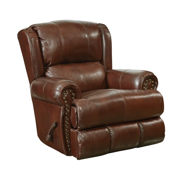 Woodville Deluxe Leather Manual Glider Recliner Red Barrel Studio W000442876