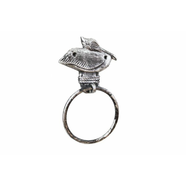 Cast Iron Pelican on Post Towel Ring by Handcrafted Nautical Decor
