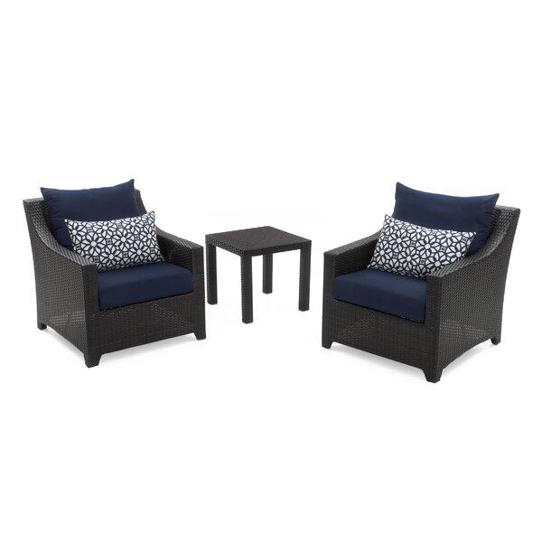 Northridge 3 Piece Rattan Sunbrella Seating Group with Cushions by Three Posts