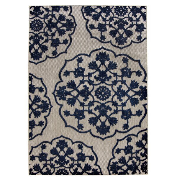 Oakmont Navy/Ivory Indoor/Outdoor Area Rug by Three Posts