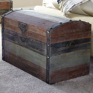 Merveilleux Grieco Small Weathered Wooden Storage Trunk