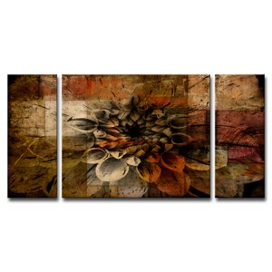 'Daisy' 3 Piece Print of Painting on Canvas Set by Ready2hangart