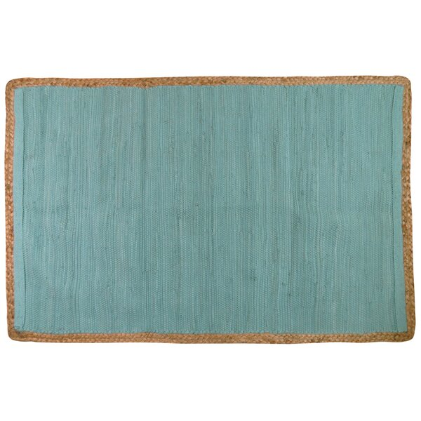 Arbor Lake Hand Woven Cotton Seaspray Area Rug by Highland Dunes