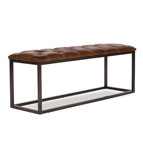 Mobley Leather Bench by 17 Stories