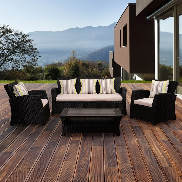 Mcdaniels 4 Piece Rattan Sectional Seating Group with Cushions by Canora Grey