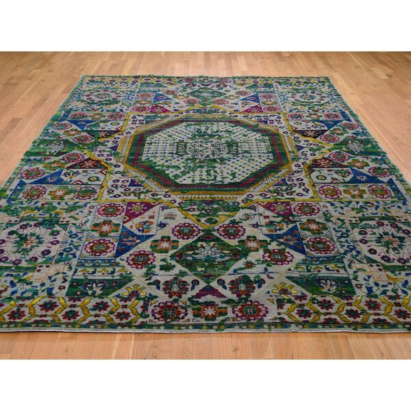 One-of-a-Kind Hand-Knotted Green/Red/Blue 8'10 x 12'1 Area Rug